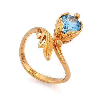 Кольцо с топазом (голубым) 3.93 г SL-0245-393