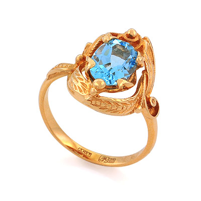 Кольцо с топазом (голубым) 5.26 г SL-0245-526