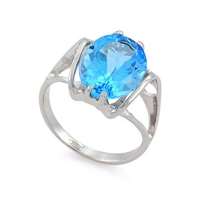 Кольцо с топазом (голубым) 4.53 г SL-0280-464