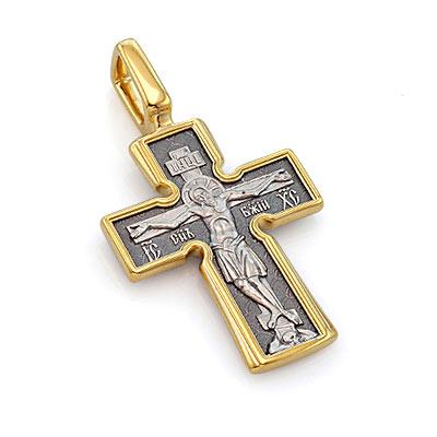 """Православный крест из серебра """"Распятие / Божия Матерь"""" 11 г 101-039 ценой 6900 рублей"""