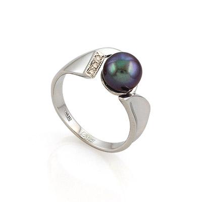 Кольцо с черным жемчугом и бриллиантами 4.73 г SL-52114-473