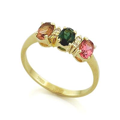 Кольцо с бриллиантами и цветным турмалином 3.65 г SL-0198-350