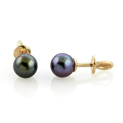 Золотые серьги-пусеты с чёрным жемчугом 2.1 г SL-2001-160
