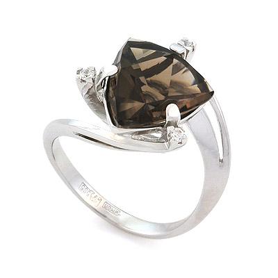 Кольцо с раухтопазом из белого золота 4.39 г SL-2108-439