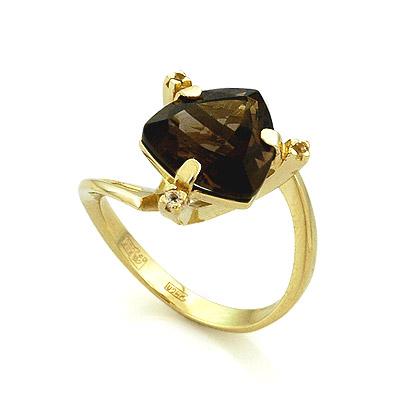 Кольцо с раухтопазом из желтого золота 4.78 г SL-2108-RT