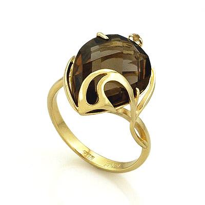 Кольцо с раухтопазом из желтого золота 4.33 г SL-2140-RT
