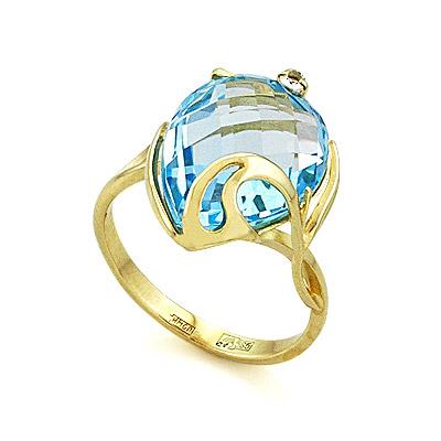 Кольцо с топазом (голубым) 5.21 г SL-2140-GT
