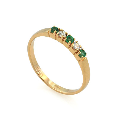 Кольцо дорожка с изумрудами и бриллиантами 1.91 г 38k611821