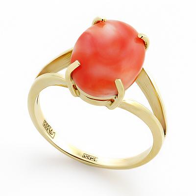 Кольцо с кораллом натуральным природным 4 г SLK-2171-400