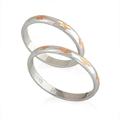 Обручальное кольцо из белого золота 4.8 г E169046