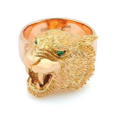 Мужской перстень с головой тигра из золота — на заказ 35 г SLY-K002