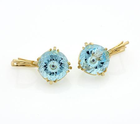 Золотые серьги с крупным голубым топазом 12 г SL-3847-1200