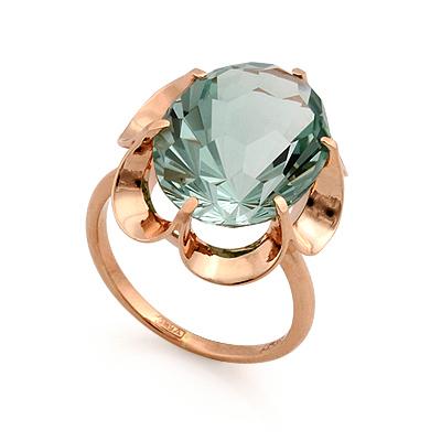 Золотое кольцо <em>с аквамариновым <noindex>кварцем</noindex></em> 4.43 г SL-0225-440