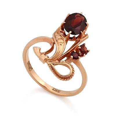 Золотое кольцо с гранатами 3.55 г SL-0227-351