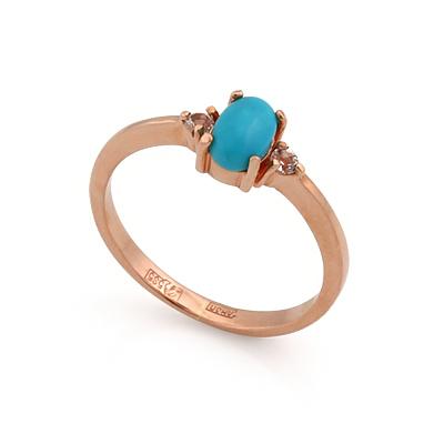 Золотое кольцо с бирюзой и бесцветными топазами 2.03 г SL-0213-205