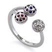 Кольцо с полудрагоценными камнями: бриллиантами, синими сапфирами и красными рубинами SLV-K238 весом 4.75 г  стоимостью 35100 р.