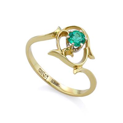 Кольцо с изумрудом из желтого золота 1.87 г SLV-K068
