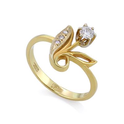 Золотое кольцо с бриллиантами 2.83 г SLV-K399