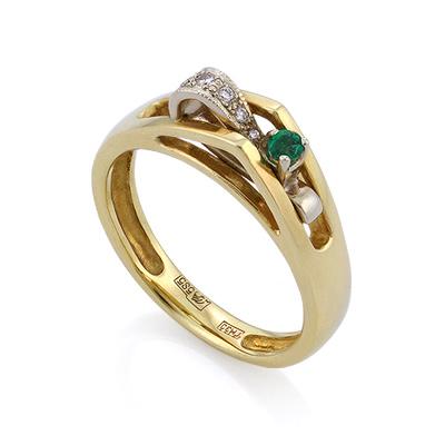 Кольцо с изумрудом и бриллиантами в золоте 4.29 г SLV-K112