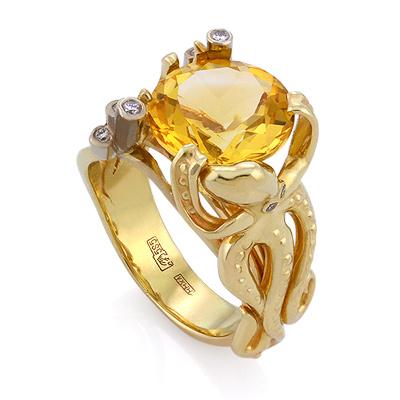 Кольцо с цитрином и бриллиантами «Осьминог» 11.35 г SLV-K385