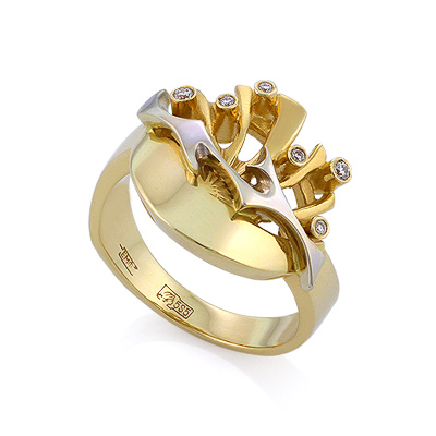 Золотое кольцо с бриллиантами 6.12 г SLV-K001