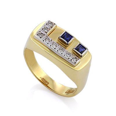 Золотой перстень с сапфирами и бриллиантами 5.54 г SLV-K005