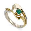 Эксклюзивное золотое кольцо с изумрудом и бриллиантами SLV-K008 весом 2.7 г  стоимостью 40000 р.