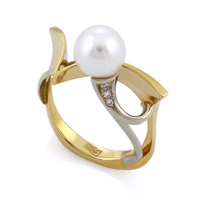 Эксклюзивное кольцо с жемчугом и бриллиантами 6.72 г SLV-K010