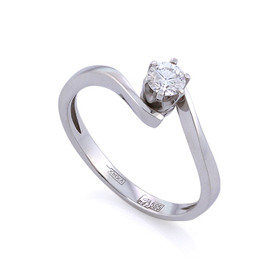 Золотое кольцо с бриллиантами 2.1 г SLV-K037
