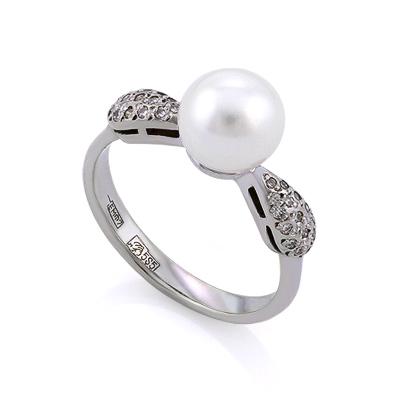 Золотое кольцо с бриллиантами и жемчугом 3.14 г SLV-K244