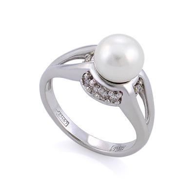 Кольцо с жемчугом и бриллиантами в золоте 5.47 г SLV-K075