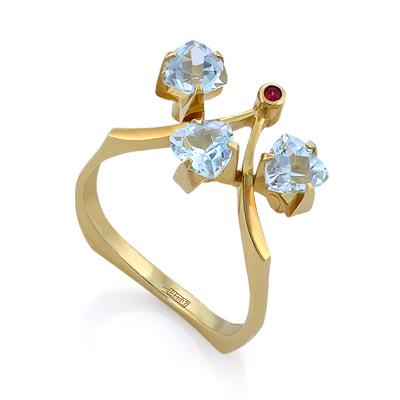 Кольцо с полудрагоценными камнями: топазами и рубином 3.52 г SLV-K020