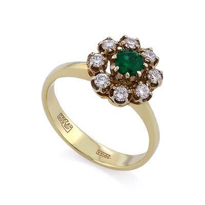 Кольцо из желтого золота с изумрудом и бриллиантами 3.71 г SLV-K405