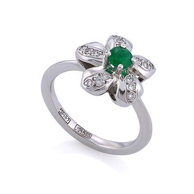 """Кольцо из золота """"Цветок"""" с изумрудом и бриллиантами 3.41 г SLV-K051"""