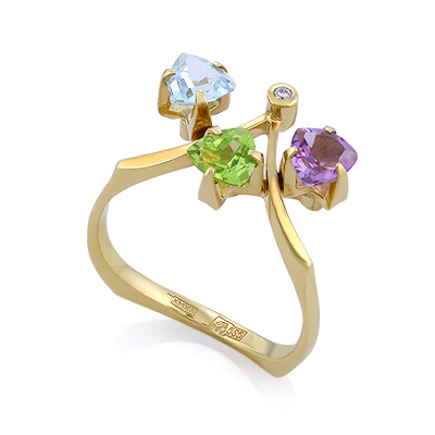 Кольцо с полудрагоценными камнями: топазом, хризолитом, аметистом и бриллиантом 3.28 г SLV-K018