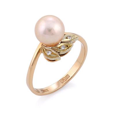 Золотое кольцо с розовым жемчугом и бриллиантами 3.4 г SLV-K446
