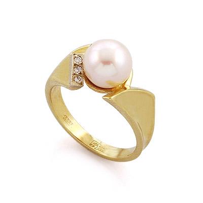Кольцо с жемчугом и бриллиантами 4.95 г SLR-52314-496