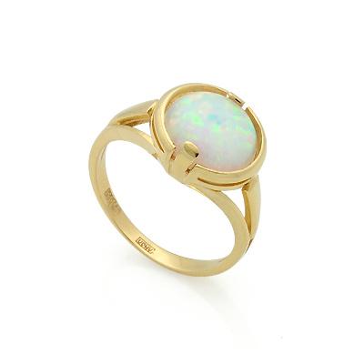 Золотое кольцо с белым опалом 3.7 г SL-2844-370