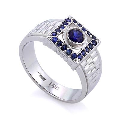 Мужское кольцо из белого золота с сапфирами / Мужской перстень с сапфирами 10.8 г SLV-11673