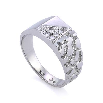 Золотая печатка с бриллиантами / Мужской перстень с бриллиантами из золота 6.62 г SLV-K455