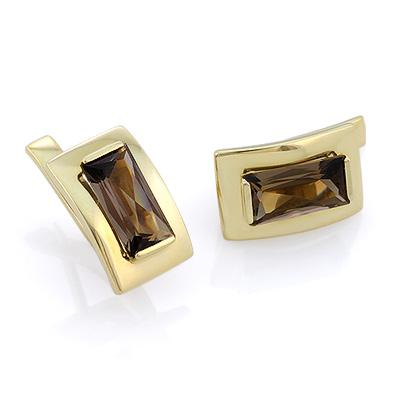 Золотые серьги с раухтопазом багет 4.75 г SLV-2279