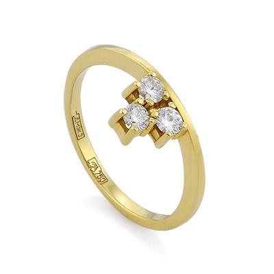 Золотое кольцо с бриллиантами 3.33 г SLV-21233