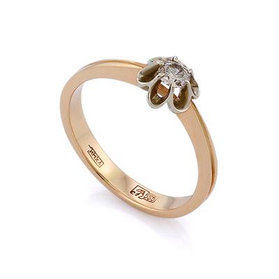 Золотое кольцо с бриллиантами 2.08 г SLV-319