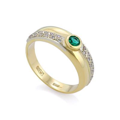 Кольцо из желтого золота с изумрудом и бриллиантами 4.37 г SLV-0226