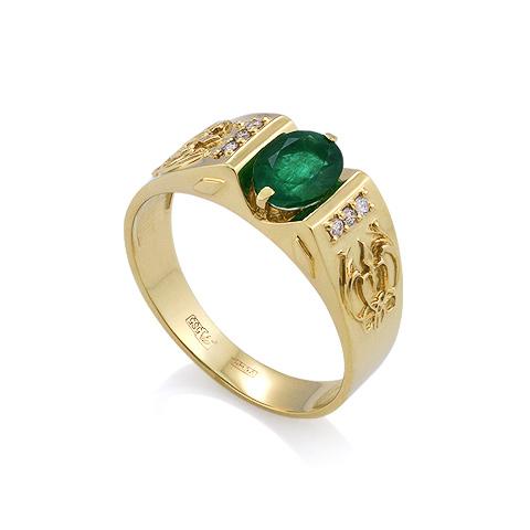 Мужское кольцо с изумрудом / Мужской перстень с изумрудом из золота 5.84 г SL-3001iz-580
