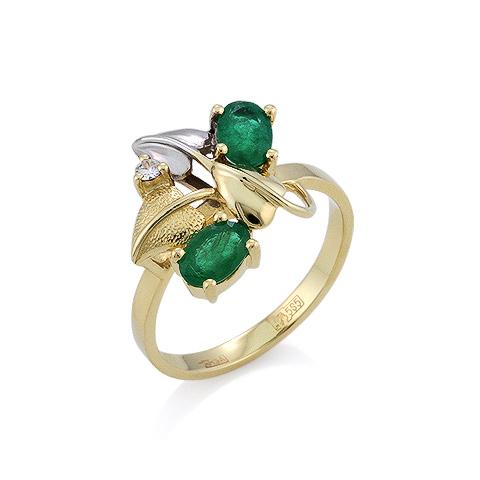 Кольцо из желтого золота с изумрудами и бриллиантом 3.45 г SLR-0190-345