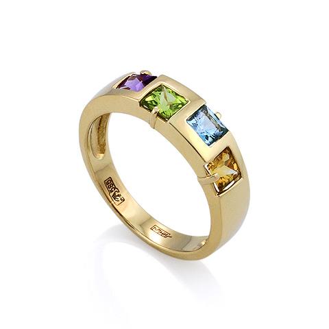 Кольцо с полудрагоценными камнями: фиолетовым, зеленым, голубым и оранжевым камнями 3.4 г SLR-0102-340