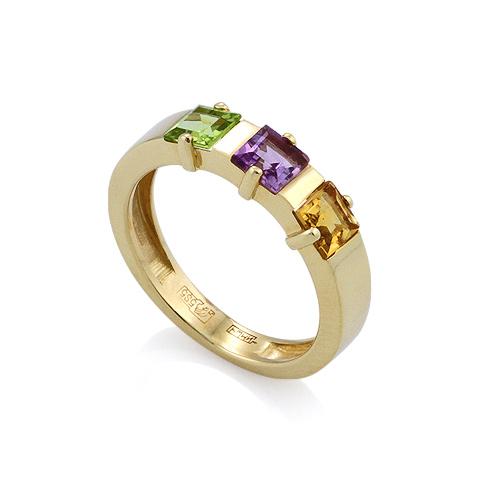 Кольцо с полудрагоценными камнями: зеленым камнем, фиолетовым и оранжевым камнями 3.35 г SLR-0120-335