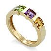 Кольцо с полудрагоценными камнями: зеленым камнем, фиолетовым и оранжевым камнями SLR-0120-335 весом 3.35 г  стоимостью 13500 р.