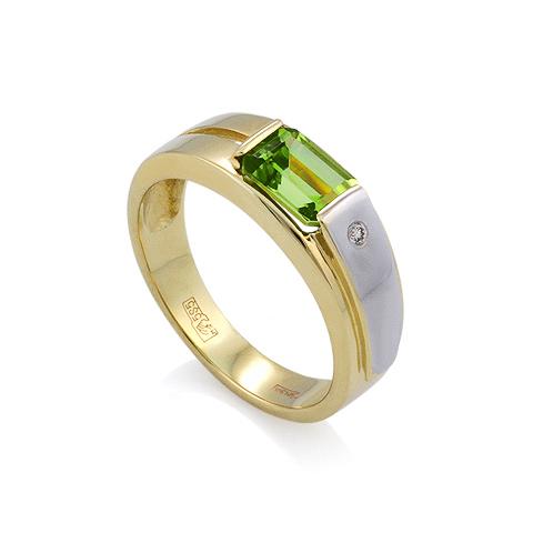 Кольцо с хризолитом и бриллиантом 4.81 г SLR-160-455